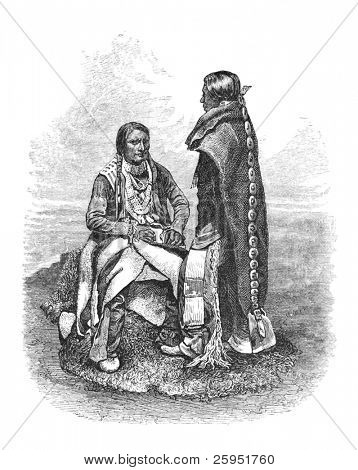 Native American Ute People of southern Colorado. Engraving by unknown artist, published in Harper's Monthly Magazine April 1876.