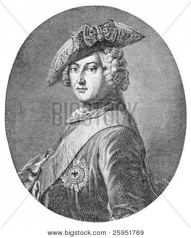 Frederick II (1712-1786) was a King in Prussia and a King of Prussia. Engraving by unknown artist, published in Harper's Monthly Magazine in april 1884.