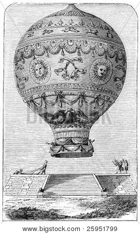Balloon of Marquis d'Arlandes (1742-1809), a french ballooning pioneer. Illustration source: Scribner's Magazine printed in 1870.