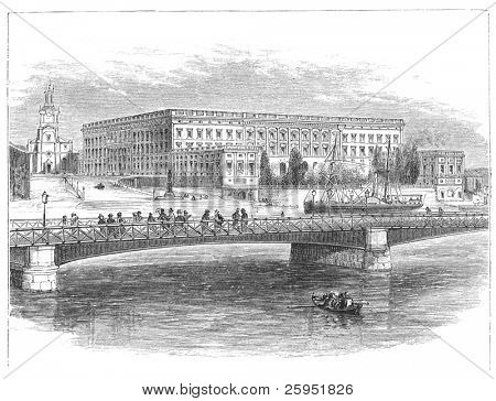 The Stockholm Palace (Swedish: Stockholms slott  or Kungliga slottet) the official residence and major royal palace of the Swedish monarch. Old engraving from Harper's Monthly Magazine, december 1881.