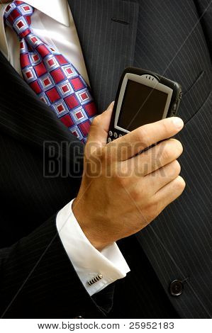 Businessman With Wireless Handheld Computer