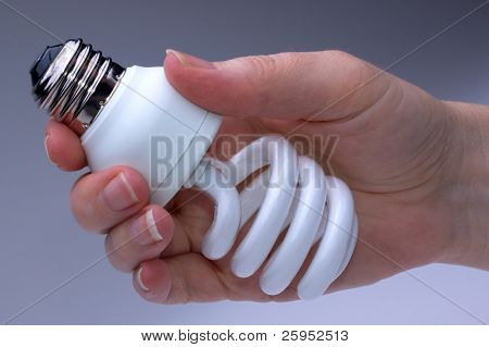 Woman Holding A CFL Compact Fluorescent Low Energy  Light Bulb