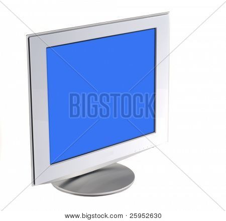 Computer Flat Screen LCD Display, Isolated On White