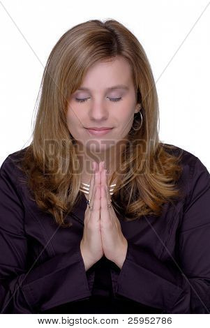 Young Woman With Eyes Closed Praying