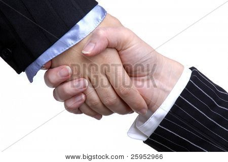 Two Business Women Shaking Hands, Isolated Over White
