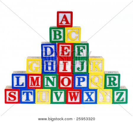 Children's Colorful Alphabet Building Bricks, Isolated Over White