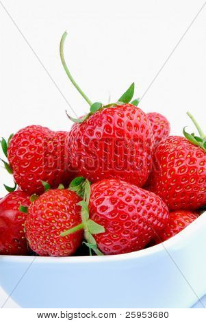 Bowl Of Fresh Summer Strawberries, Isolated Over White