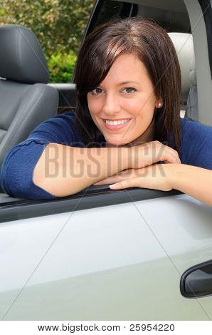 Attractive Woman Taking A Break During A Road Trip