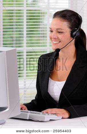 Call Center Woman Speaking With A Customer