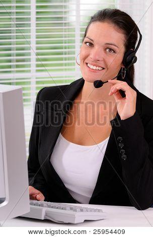 Beautiful Call Center  Woman Wearing A Telephone Headset
