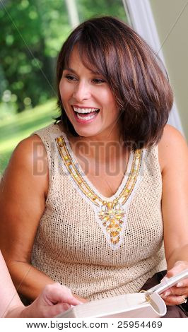 Beautiful Middle Age Woman Having Fun At A Party
