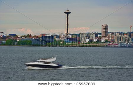 Speedboat In Foreground Of Seattle, Wa Skyline