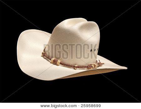 Off white cowboy hat on black, slanted