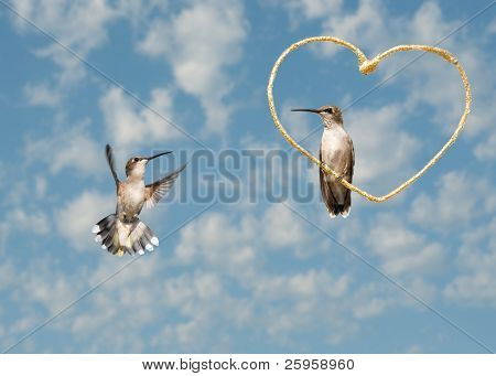 Two hummingbirds against cloudy skies with a golden heart, Valentine's Day design