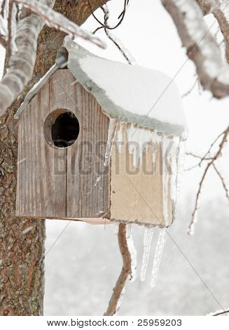 A bird house after an ice storm with icicles hanging off its roof, with a snowstorm blowing snow on it, abstract concept of an abandoned home