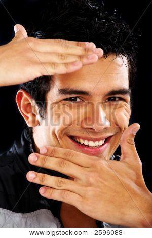 Casual Man Framing His Face