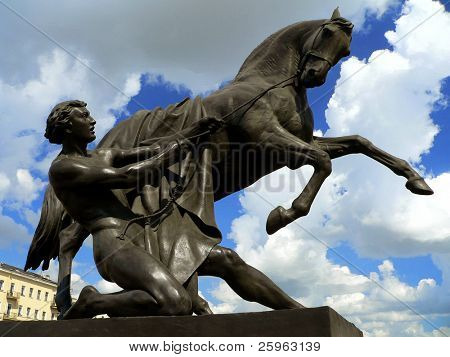 "Monument ""The Taming of Horses"" in St.Petersburg  at Anichkov Bridge."