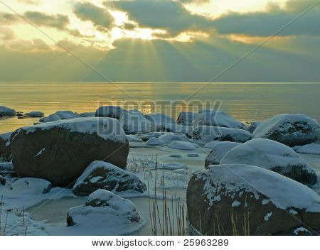 Sunset at the beach in winter