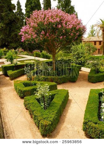 Flower parc in Alhambra, Granada, Spain