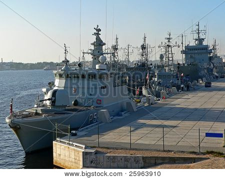 Russian warships in harbor of Riga