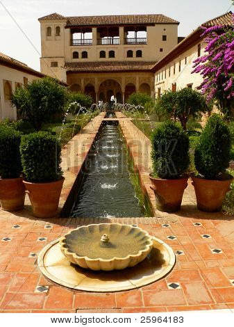 Garden of Alhambra (Andalousia, Spain, Europe).