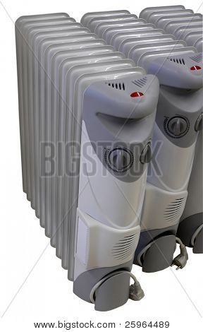 3 electric radiators on isolated background