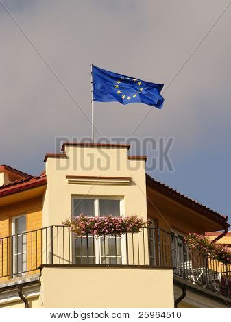 EU flag on building