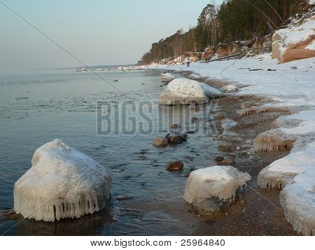 Coastline in winter and lovely icicle on stones