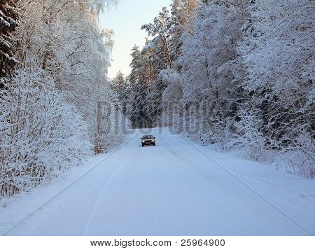 Winter, road and car