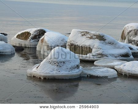 Icicle stones in sea