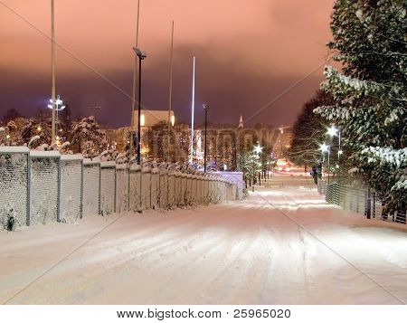 Winter night in Helsinki, Finland, Europe
