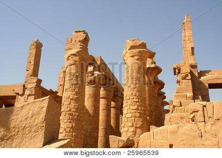 Imposing columns in the Temple of Amon-Re, Karnak, Luxor, Egypt