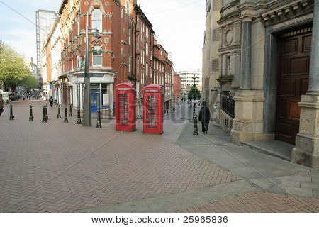 Old Telephone Box in Birmingham, Victoria square (England).