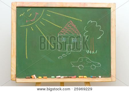 Children's drawing on a board
