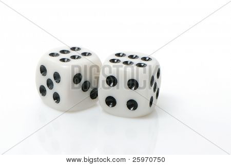 Two white dices rendered on the white background