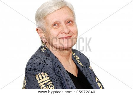 Portrait of the old woman on a light background