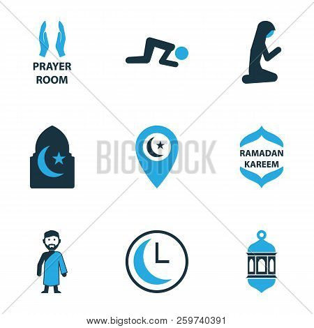 Ramadan Icons Colored Set With Namaz, Muslim Female, Room And Other Time  Elements  Isolated Illustr poster
