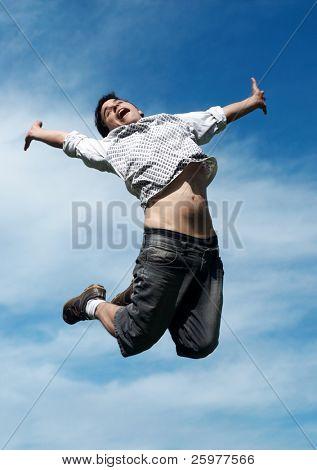 happy guy jumping
