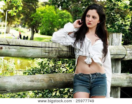 portrait of beautiful latin woman in park