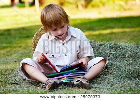The boy reading books sitting in a haystack