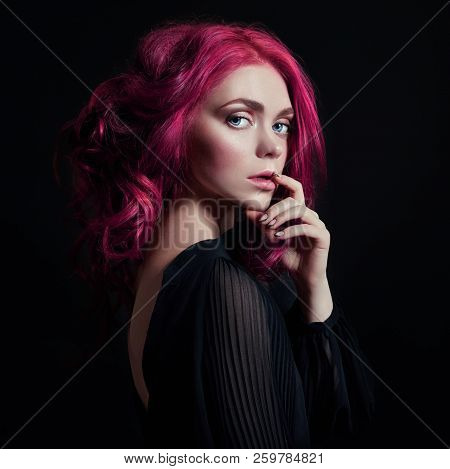 poster of Portrait Of A Woman With Bright Colored Flying Hair, All Shades Of Pink. Hair Coloring, Beautiful Li