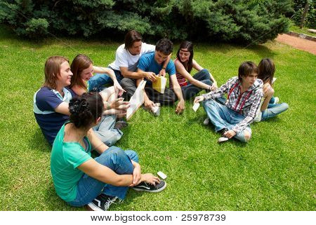 group of college students outdoors