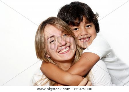 Mother with the son isolated over white background
