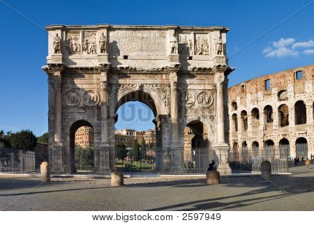 Arch Of Constantine And Colosseum, Roma, Italy