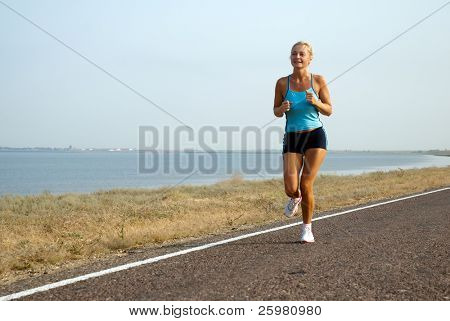 woman running on a summer day