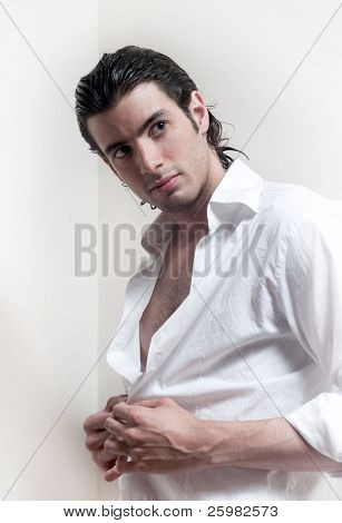 Portrait of long-haired handsome man