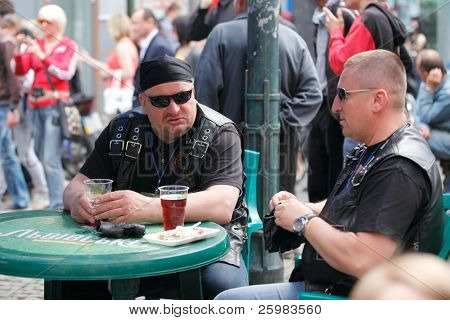 MUKACHEVO, UKRAINE - MAY 1: Unidentified participants relax at the International Bikers of Transcarpathia event on May 1, 2011 in Mukachevo, Ukraine.