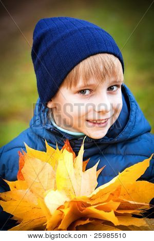 portrait happy boy in autumn park