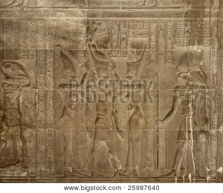 Ancient Relief At The Temple Of Kom Ombo