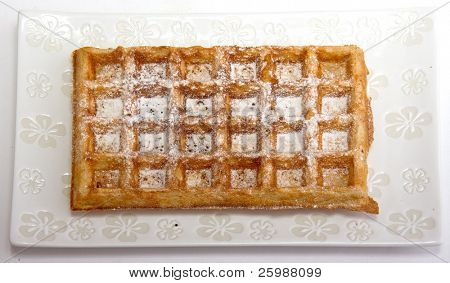 waffles with shugar  on plate
